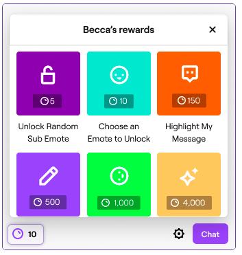 Imagen de Twitch.com donde vemos las distintas recompensas disponibles como un ejemplo