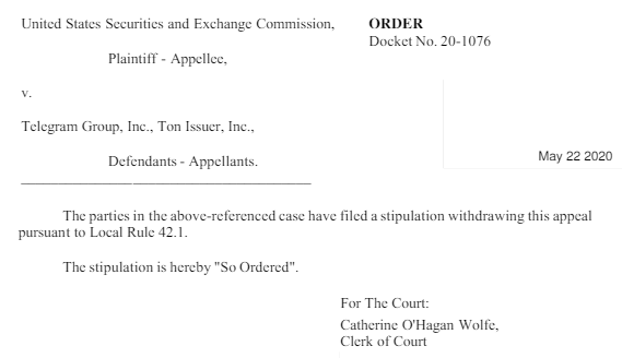 Telegram abandona oficialmente juicio con la SEC