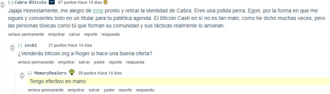 Hilo de Reddit sobre la posible venta de Bitcoin.org