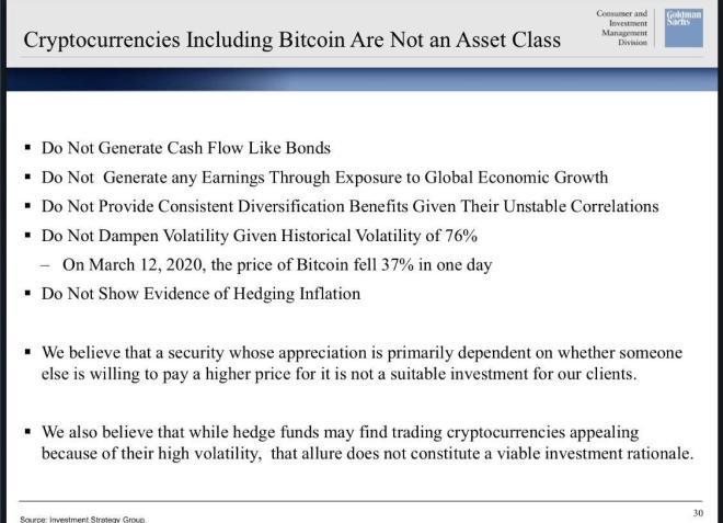 Goldman Sachs defrauda a los seguidores del Bitcoin con su presentación. Fuente: Fortune