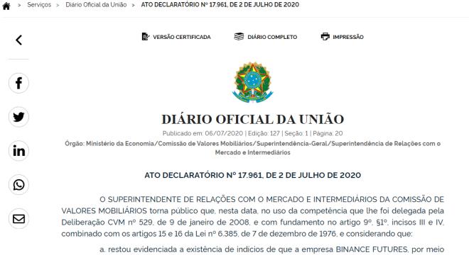 Imagen de la orden emitida el 2 de julio del cese inmediato de operaciones de derivados dirigida a Binance Futures.