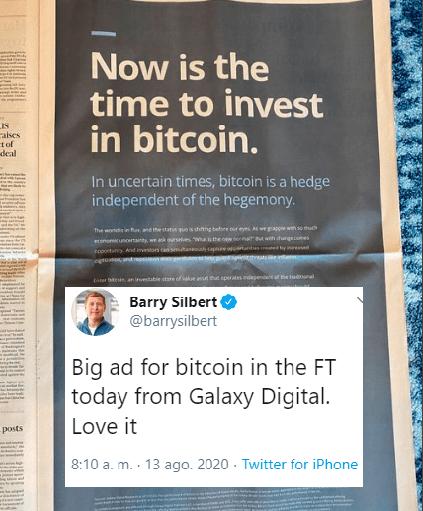 Imagen del anuncio publicitario en el Financial Times. Fuente: Twitter de Barry Silbert. Top noticias cripto