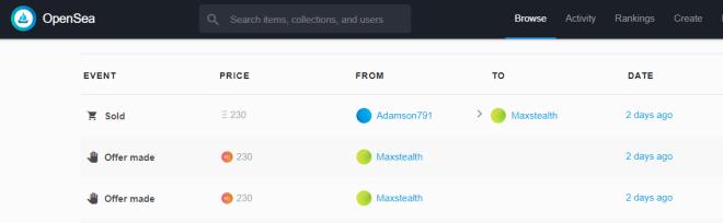 Imagen del sitio web OpenSea donde podemos observar el precio por el cual fue vendido el crypto dominio.