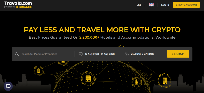 La opción para ganar 20 dólares en tu próximo viaje es solo parte de la alianza entre Travala y Binance. Fuente: Travala