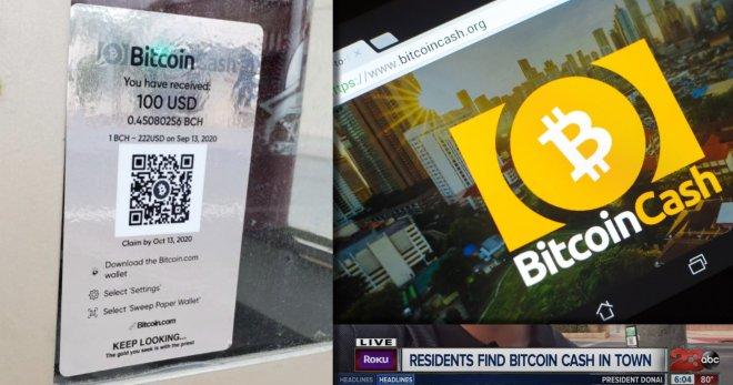 El misterioso Bitcoin Man de Bakersfield logró su objetivo de promoción de Bitcoin Cash (BCH) con estas calcomanías alrededor de la ciudad. Fuente: News Trijo.