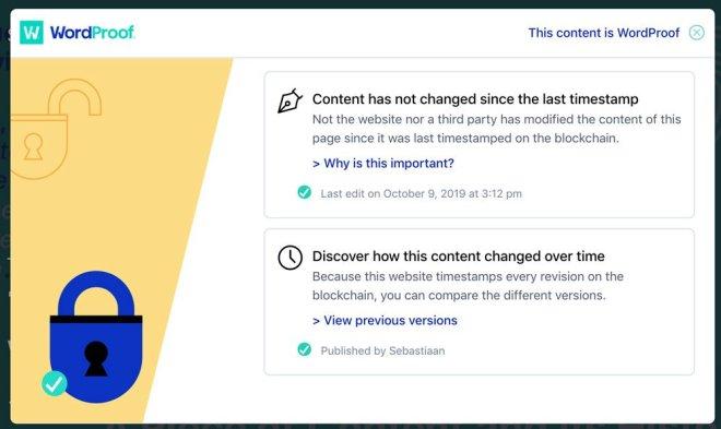 WordProof permite que tus contenidos sean guardados en la Blockchain de Ethereum. Fuente: WordProof