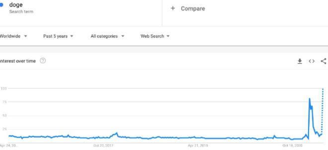 Búsquedas de la palabra doge. Fuente: Google trends.