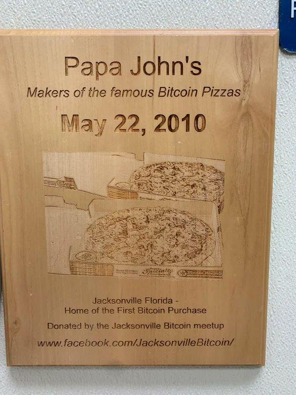 Papa John's conmemora el Bitcoin Pizza Day