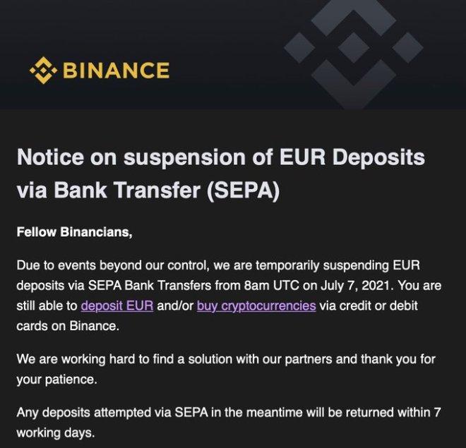 El más importante exchange de criptomonedas del mundo, Binance, suspende depósitos SEPA por medio de transferencias bancarias. Fuente: Twitter