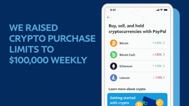 En un comunicado, la empresa financiera Paypal anuncia que suprime los límites anuales de compra de criptomonedas. Fuente: Paypal