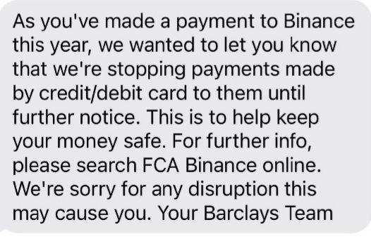 Mensaje de Barclays a sus clientes. Fuente: Twitter