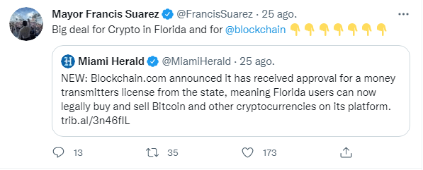 El Alcalde de la ciudad de Miami en Florida, Mayor Francis Suarez, ha expresado vía Twitter su apoyo a la aprobación de la licencia a Blockchain.com  . Fuente: Twitter