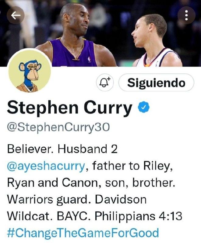 Perfil de Stephen Curry. Fuente: Twitter