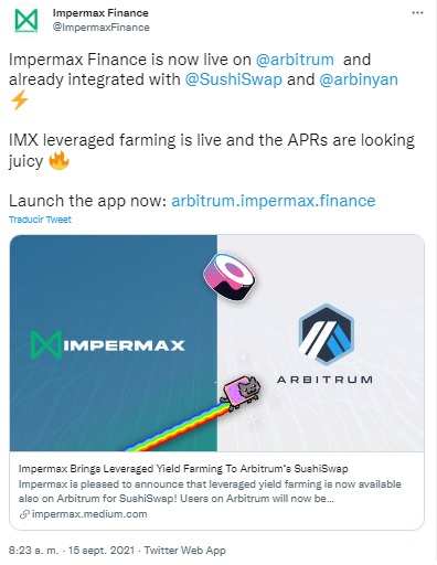 Integración de SushiSwap en Impermax Finance
