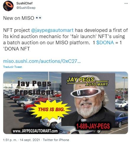 Venta del NFT Jay Pegs Auto Mart en SushiSwap