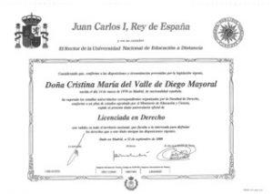 Título de licenciada en derecho