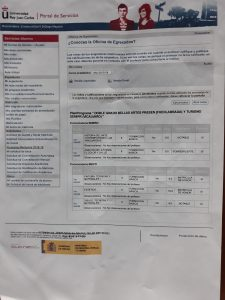 Captura del documento con las notas