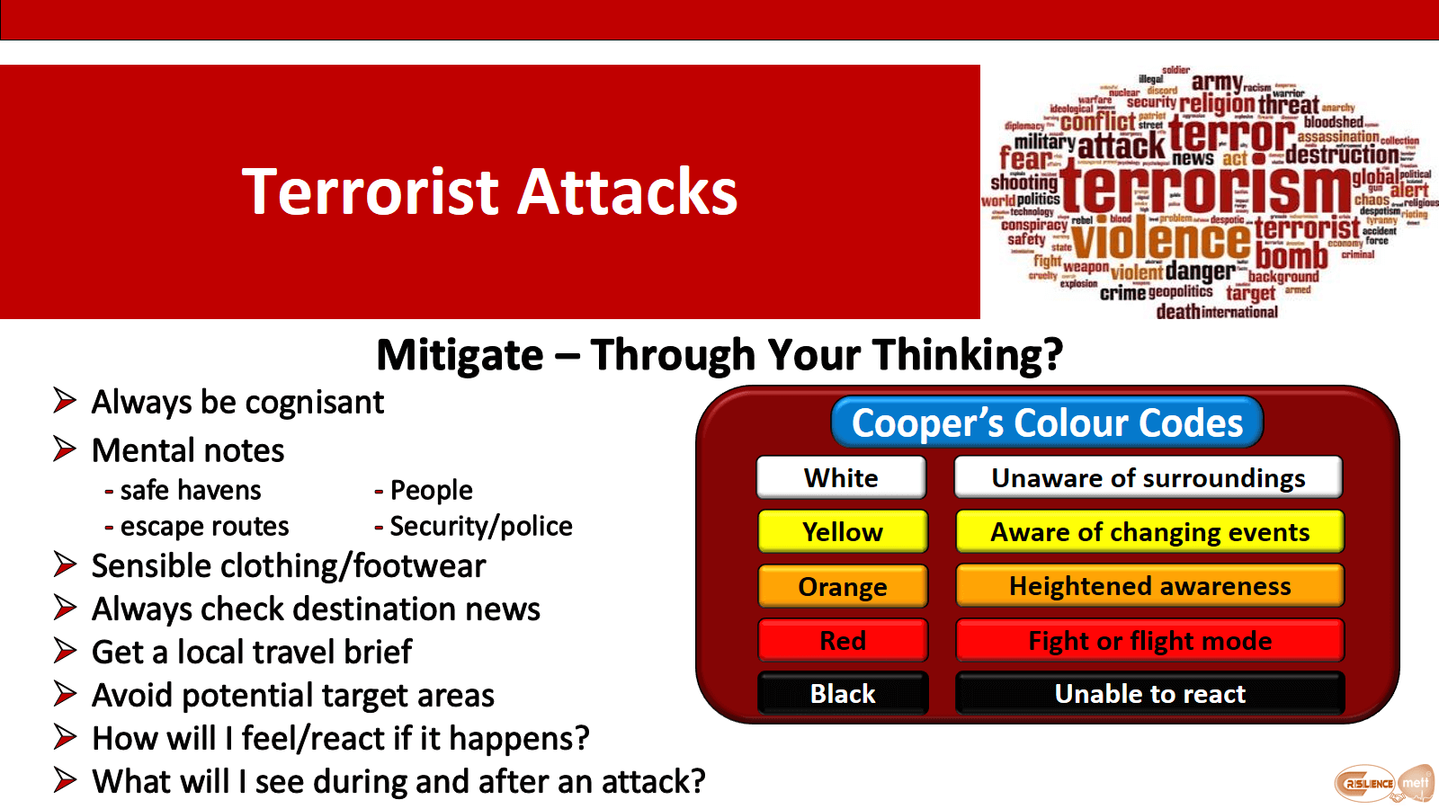 CIMAT slide 11 Terror Attacks Mitigate through your thinking