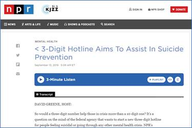 3-Digit Hotline Aims To Assist In Suicide Prevention