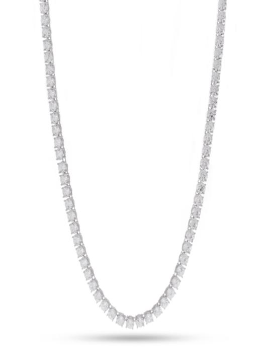 KING ICE 5mm, White Gold Single Row CZ Tennis Chain