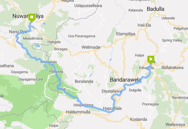 GPS track of Journey from Ella to Nuwara Eliya