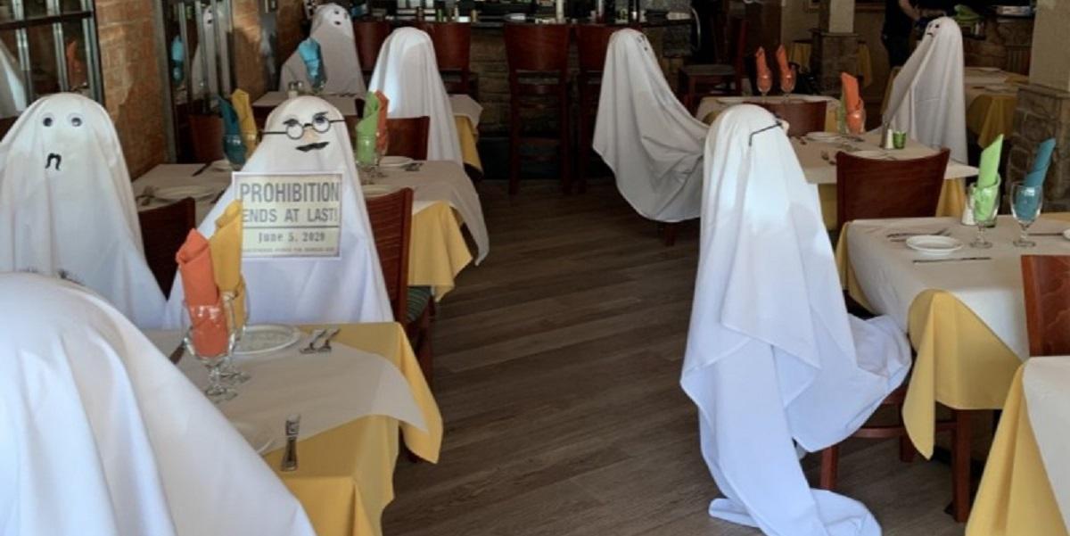 США, ресторан, призраки, коронавирус, безопасность, дистанция