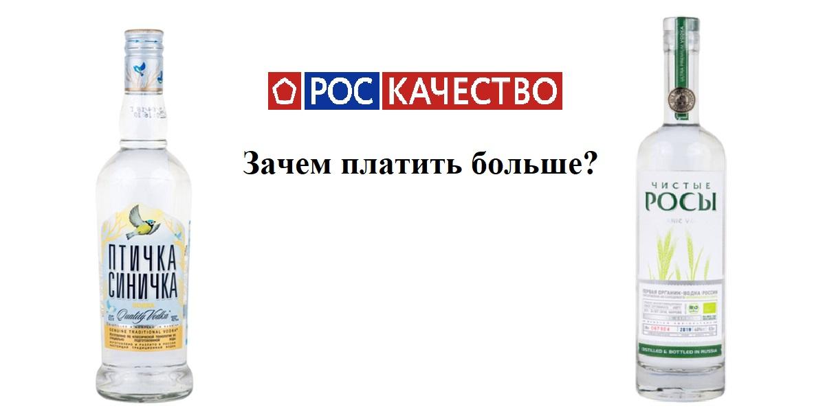 Роскачество, рейтинг води 2020 год, водка «Птичка Синичка», водка «Чистые росы»