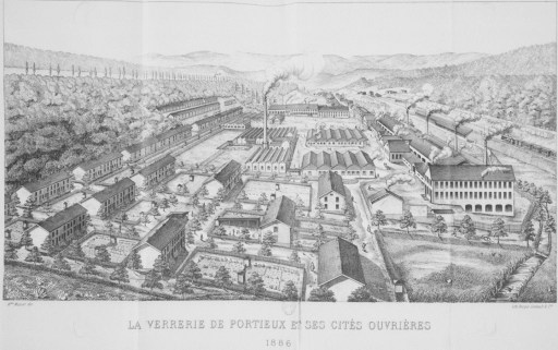 croquis de la verrerie de portieux en 1886