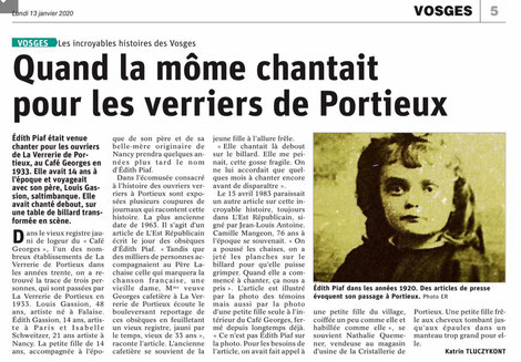 """La """"môme"""" chantait pour les verriers de Portieux"""