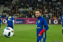 Juan Mata training on Cluj Arena
