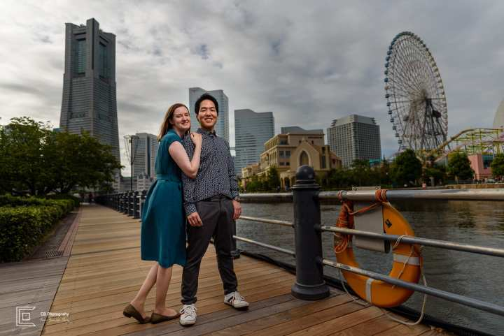 Save The Date couple portrait in Yokohama