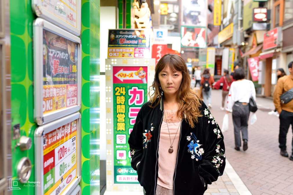 Portrait of a young woman fashion outfit taken in Shibuya by the Tokyo portrait photographer Cristian Bucur