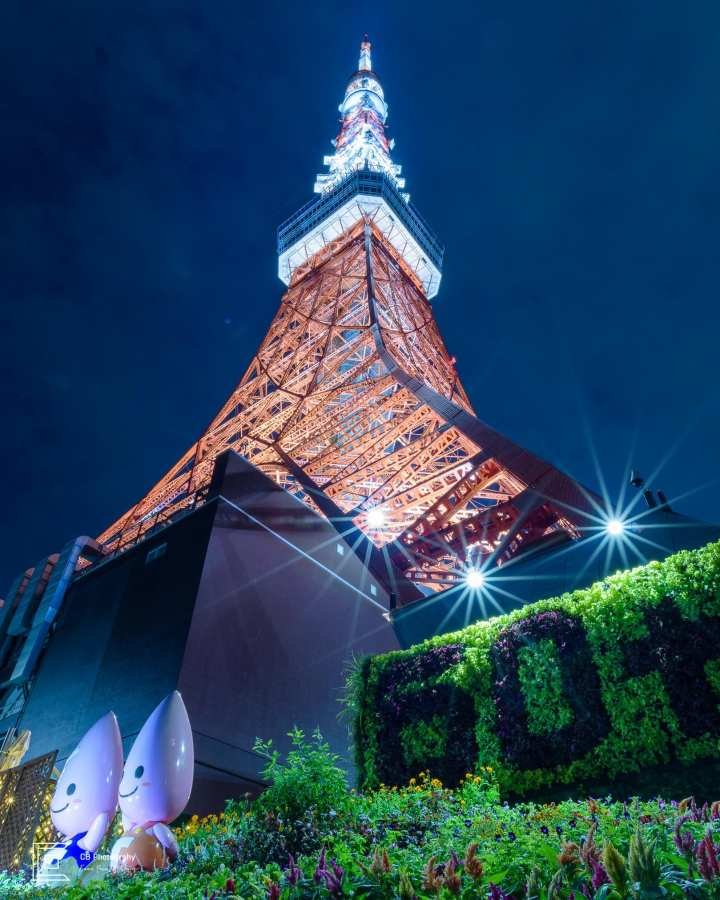 Tokyo Tower view during night time; photograph taken using a tripod and Nikon D750.