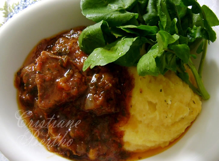 receita de língua de boi com polenta