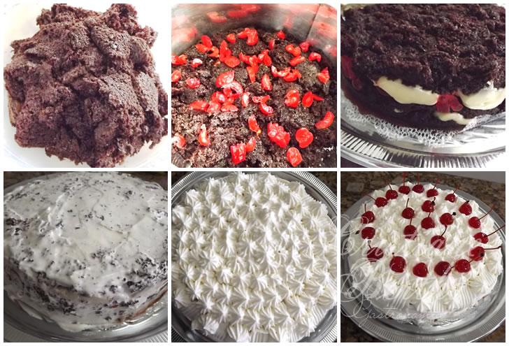 receita de bolo de chocolate preparado com pedaços de bolo, recheado e confeitado