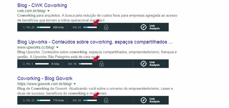 MozBar exibe autoridade de domínio, ou DA, para cada site
