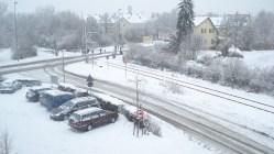 Inverno rigoroso na Alemanha. Visão do trânsito das linhas de trens em Stuttgart.
