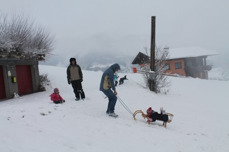 Inverno na Áustria. Deslizando com trenós na neve, diversão para crianças e adultos!