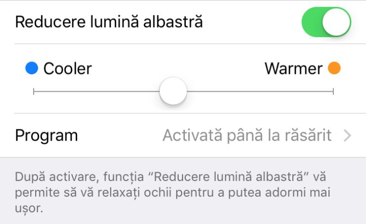 reducere lumina albastra iphone