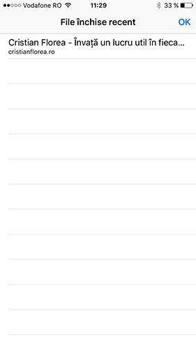vezi taburile inchise recent - safari iOS 3