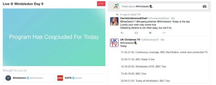 Semifinalele de la Wimbledon se pot vedea pe Twitter