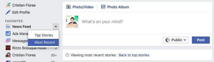 facebook - most recent stories