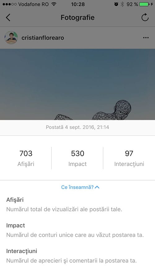 statistici instagram - profil business 1