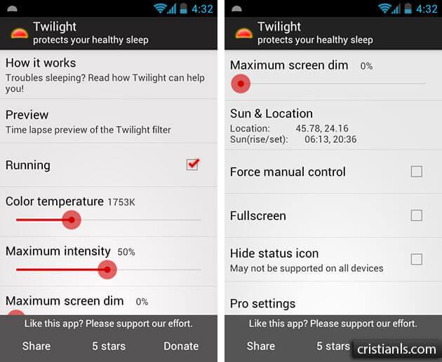 Twilight - aplicatie pentru Android care te ajută să dormi