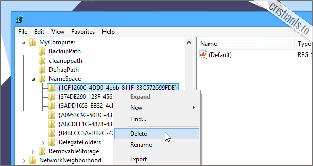 cum elimini folders din Windows 8.1