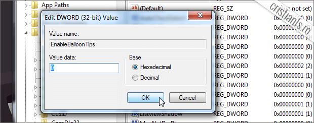 EnableBalloonTips - Value data - 0