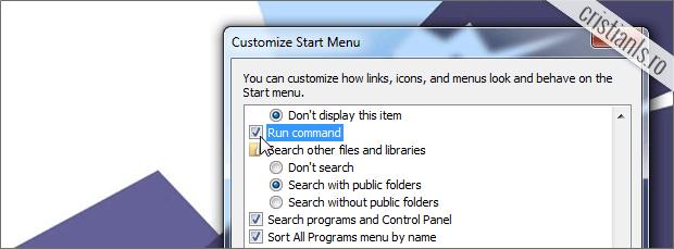 activare run command in meniul start al windows 7