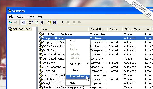 service properties windows xp