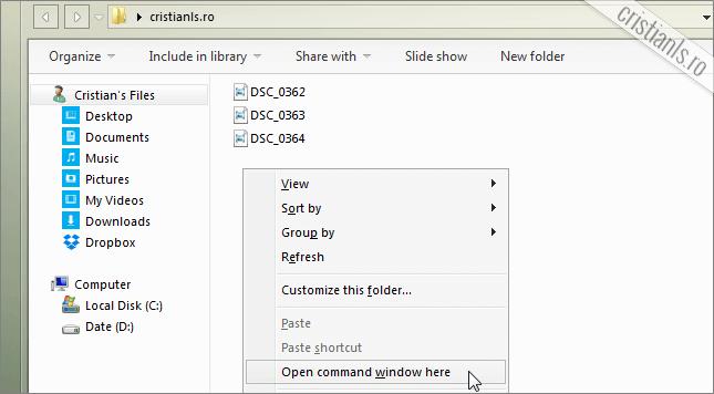 open command window here in folder