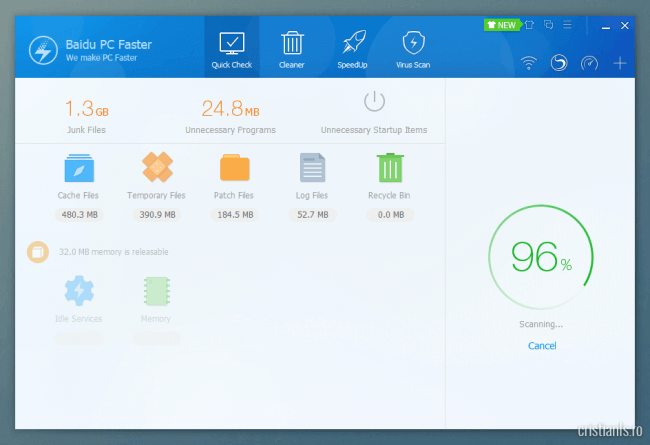 Scanare si optimizare rapida cu Baidu PC Faster